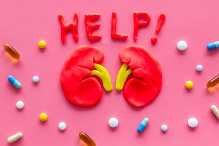Kidney illness and treatment. Word help, organ, pills on pink background top view. 写真素材