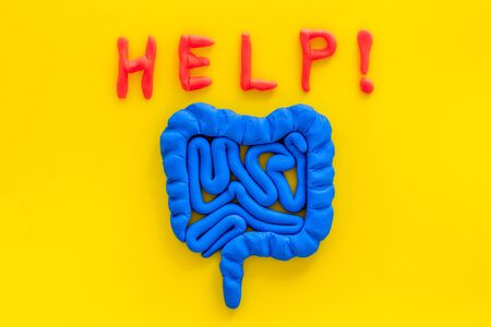 Intestines illness and treatment. Word help near guts on yellow background top view copy space