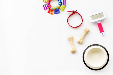 Set of treats and toys for pets with bones, collar and bowl on white background top view.
