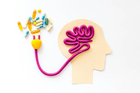 Brain charging and mental rest. Plug and cable leads to plastiline meanders on white background top view. Stock Photo