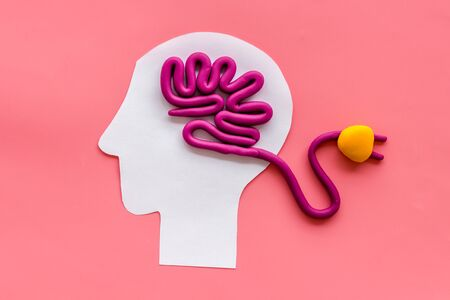 Brain charging and mental rest. Plug and cable leads to plastiline meanders on pink background top view. Stock Photo