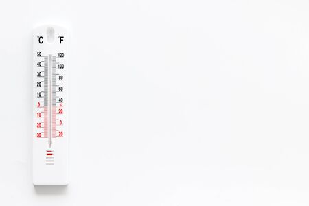 Weather thermometer on white background top view copy space