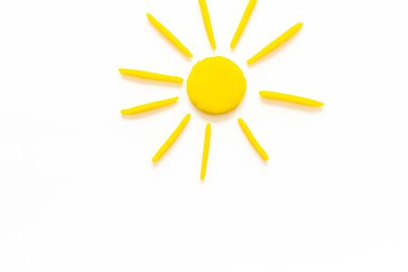Sunny weather concept. Sun on white background top view. Stock Photo
