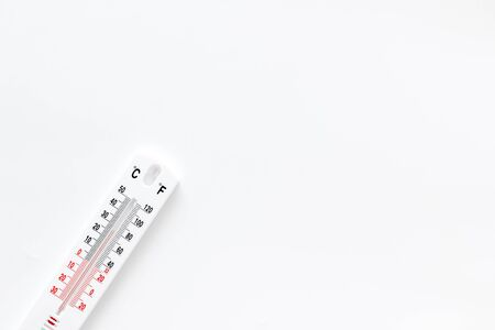 Weather thermometer on white  top view space for text Stock Photo