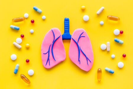 Treat lung diseases. Organ and pills on yellow  top view