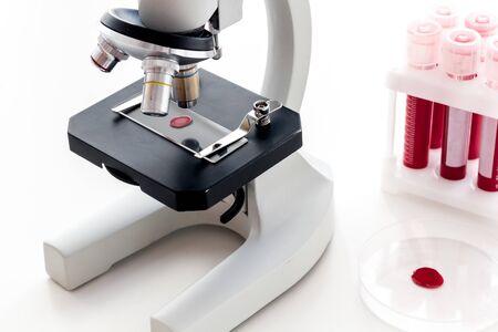Blood drop under microscope on white background. Foto de archivo