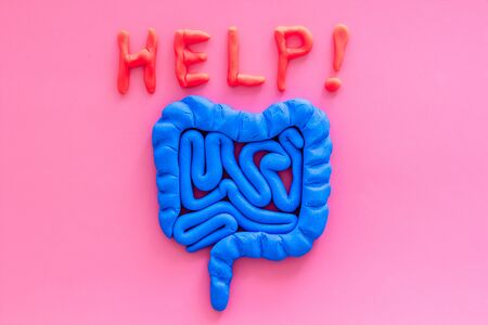 Intestines illness and treatment. Word help near guts on pink background top view space for text Stockfoto