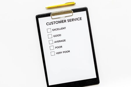 Customer service form on white background top view copy space