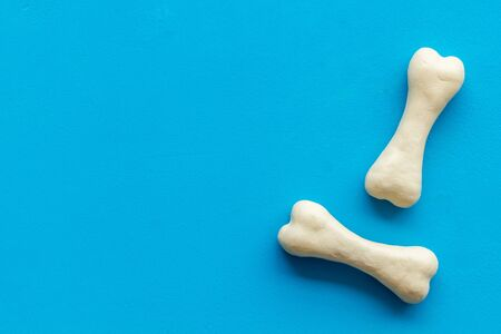Treats for dogs. Chewing bones on blue background top view copy space