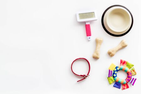 Set of treats and toys for pets with bones, collar and bowl on white background top view frame copy space
