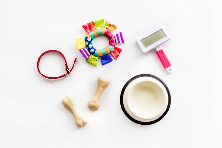 Set of treats and toys for pets with bones, collar and bowl on white background top view