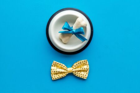 Dogs birthday concept. Chewing bones with bow and bow-tie on blue  top view
