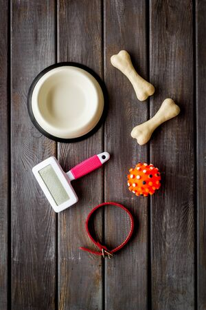 Set of treats and toys for pets with bones, collar and bowl on dark wooden background top view.