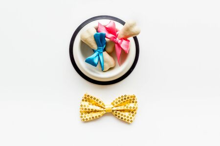 Dogs birthday concept. Chewing bones with bow and bow-tie on white background top view. Фото со стока