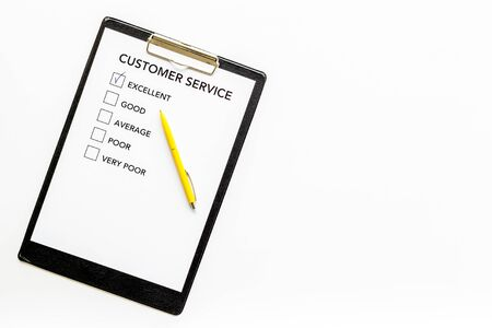 Customer service form on white background top view.