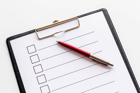 Empty check list ready to fill on white background top view