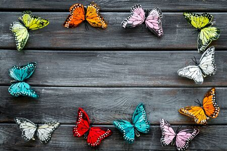 Multicolored tropical butterflies on dark wooden background top-down frame copy space Imagens