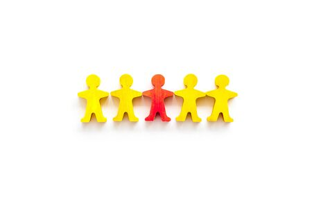 Leader concept. People cutuots - red figure against others on white background top-down. Stock fotó