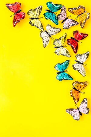 Multicolored tropical butterflies on yellow background top-down frame.