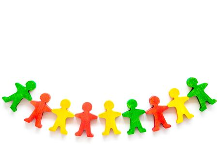 Team work, teambuilding concept. People silhouettes on white background top-down