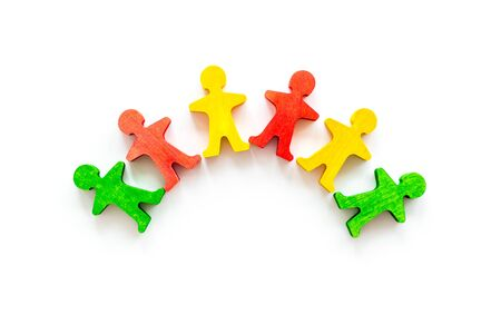Team work, teambuilding concept. People silhouettes on white background top-down copy space Stock Photo