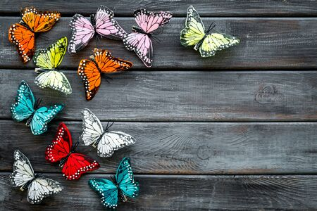 Multicolored tropical butterflies on dark wooden background top-down frame. Stock Photo