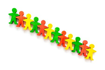 Team work, team building concept. People silhouettes on white background top-down copy space Stock Photo