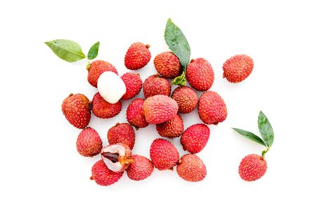 Lychee. Exotic asian fruits on white background top-down