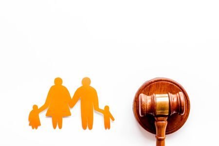 Divorce court concept. Judge gavel near family on white background top-down,