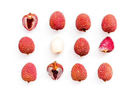 Lychee fruits pattern on white background flat lay top-down.