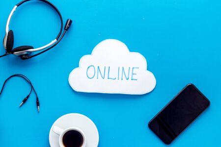 Online networking concept. Office desktop top view Фото со стока