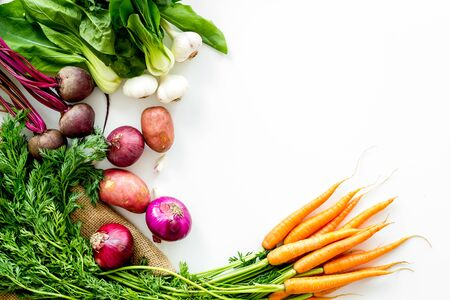 Healthy food. Vegetables - carrot, beet, potato - top view frame copy space Zdjęcie Seryjne