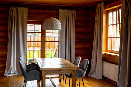 Cozy interior of a wooden cottage.