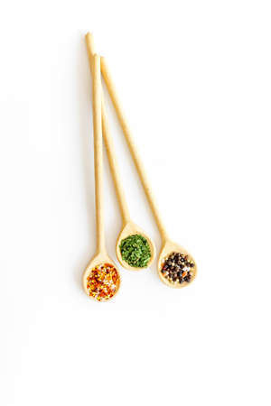 Herbs spices and flavoring on kithen desk, top view Stock Photo