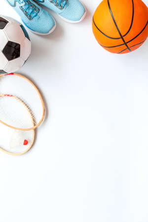 Set of sport games balls and equipment on white baclground. Top view copy space