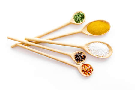 Layout of various spices in spoons. Top view, copy space