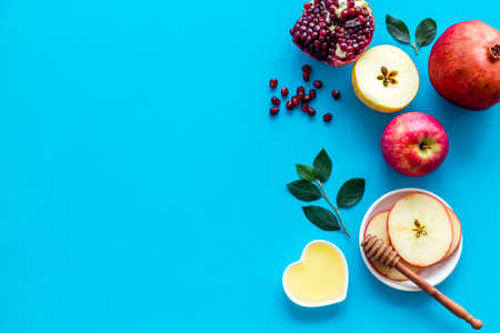 Apple feast day. Rosh Hashana Jewish holiday concept - top view