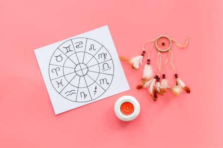 Horoscope wheel of astrology symbols on work place