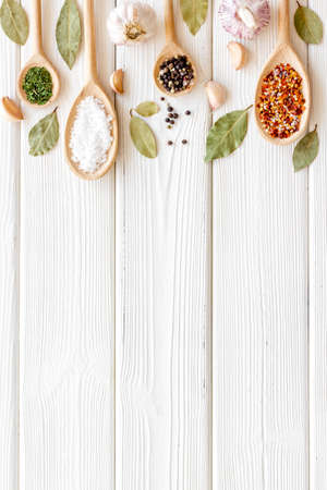 Set of Indian spices and herbs in wooden spoons, top view