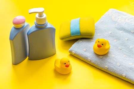 Set of baby hygiene and bath items with shampoo bottle and soap 版權商用圖片