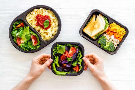 Take away meal, resraurant delivery menu. Overhead view 版權商用圖片