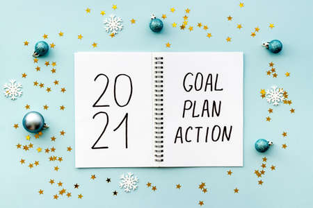 New year goals and plan concept, top view. Flat lay