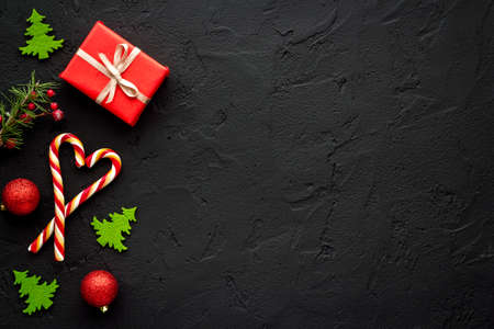Christmas and New Year banner - celebration background with various decorations 版權商用圖片