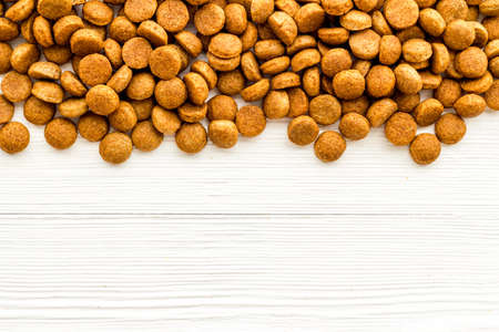 Dog pet food background. Top, overhead view