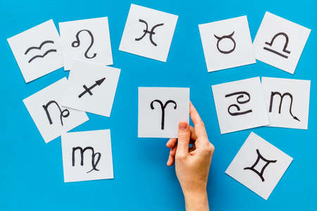 Astrology horoscopes concept. Zodiac signs top view