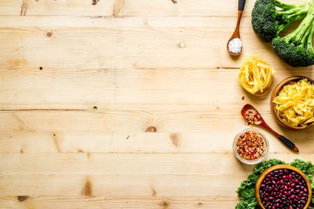 Vegan food cooking ingredients - vegetables and herbs top view 版權商用圖片