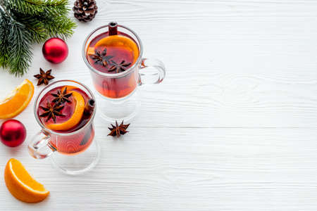 Glasses of mulled wine - hot drink with spices