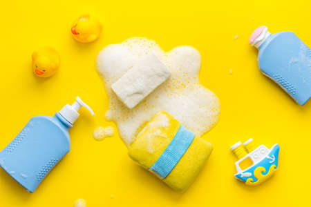 Flat lay of baby care products for bathroom. Top view 版權商用圖片