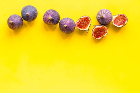 Flat lay of figs on a kitchen table, top view