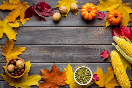 Autumn or Thanksgiving frame with leaves and pumpkins, top view